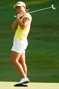 Danielle Kang watches her missed birdie putt on the third --- b_10GJ__J5F7707Kang